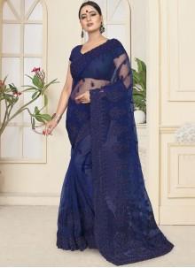 Blue Net Reception Designer Saree
