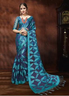 Blue Organza Designer Saree