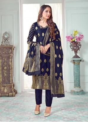 Blue Banarasi Silk Pant Style Suit