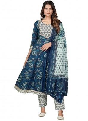 Blue Cotton Party Anarkali Suit