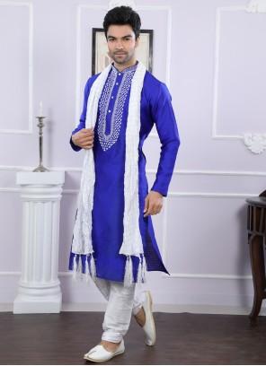 Blue Party Art Silk Kurta Pyjama