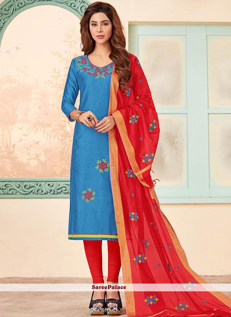 Blue Party Churidar Designer Suit