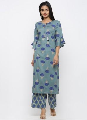 Blue Party Cotton Salwar Kameez
