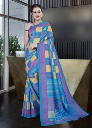 Blue Party Printed Saree