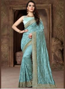 Blue Patch Border Art Silk Traditional Designer Saree