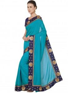 Blue Patch Border Art Silk Traditional Saree