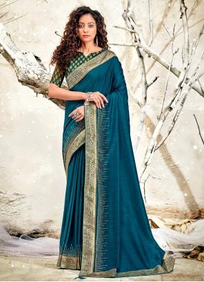 Blue Patch Border Classic Designer Saree