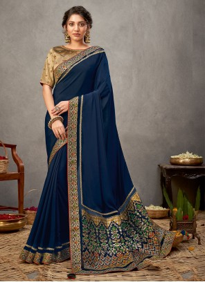 Blue Patch Border Designer Saree