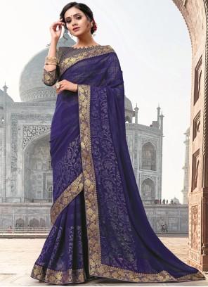 Blue Patch Border Faux Georgette Classic Designer Saree