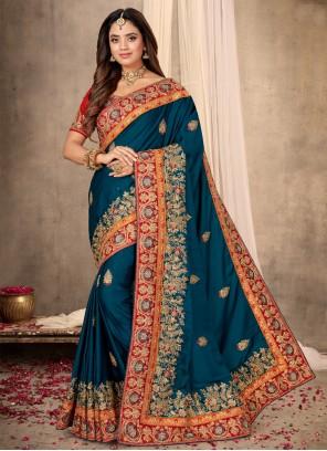 Blue Patch Border Sangeet Classic Designer Saree