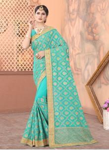 Blue Patch Border Sangeet Traditional Designer Saree