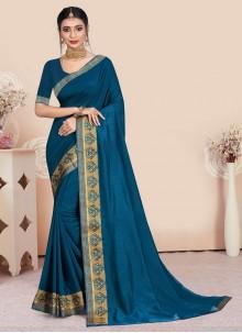 Blue Patch Border Vichitra Silk Traditional Saree