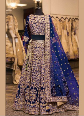 Blue Patch Border Wedding Lehenga Choli
