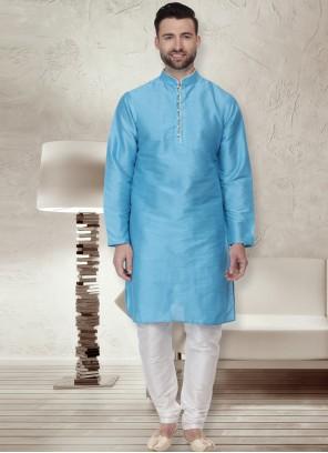 Blue Patchwork Ceremonial Kurta Pyjama