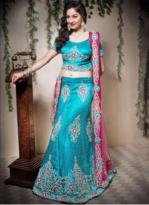 Blue Patchwork Designer Lehenga Choli
