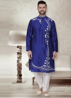 Blue Patchwork Kurta Pyjama