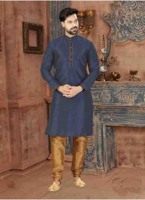 Blue Plain Art Dupion Silk Kurta Pyjama