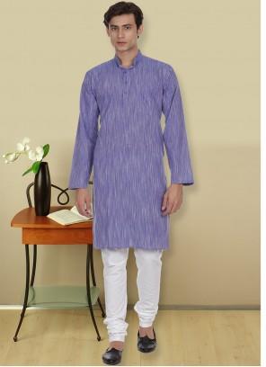 Blue Plain Casual Kurta Pyjama