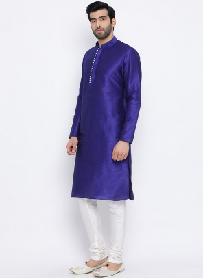 Blue Plain Dupion Silk Kurta Pyjama