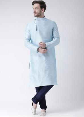 Blue Plain Kurta Pyjama