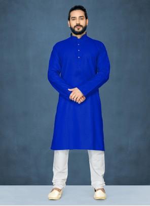 Blue Polly Cotton Plain Kurta Pyjama