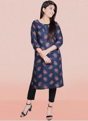 Blue Print Cotton Designer Kurti