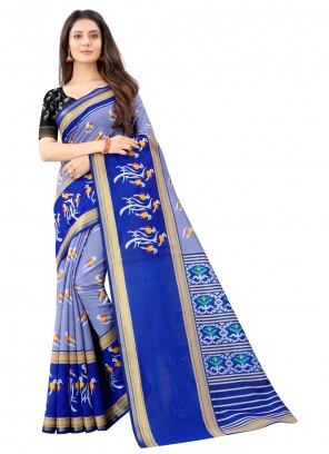 Blue Cotton Printed Saree For Festival
