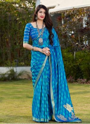 Blue Print Designer Traditional Saree