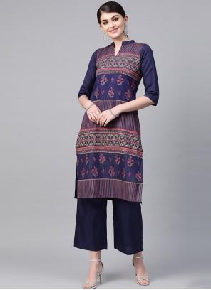 Blue Print Poly Silk Casual Kurti