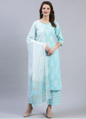 Blue Print Cotton Readymade Suit