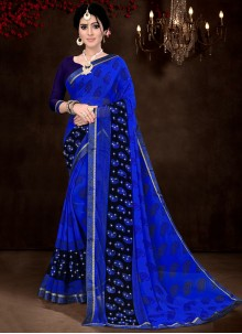 Blue Faux Georgette Printed Saree
