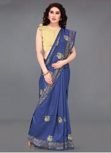 Blue Print Silk Casual Saree