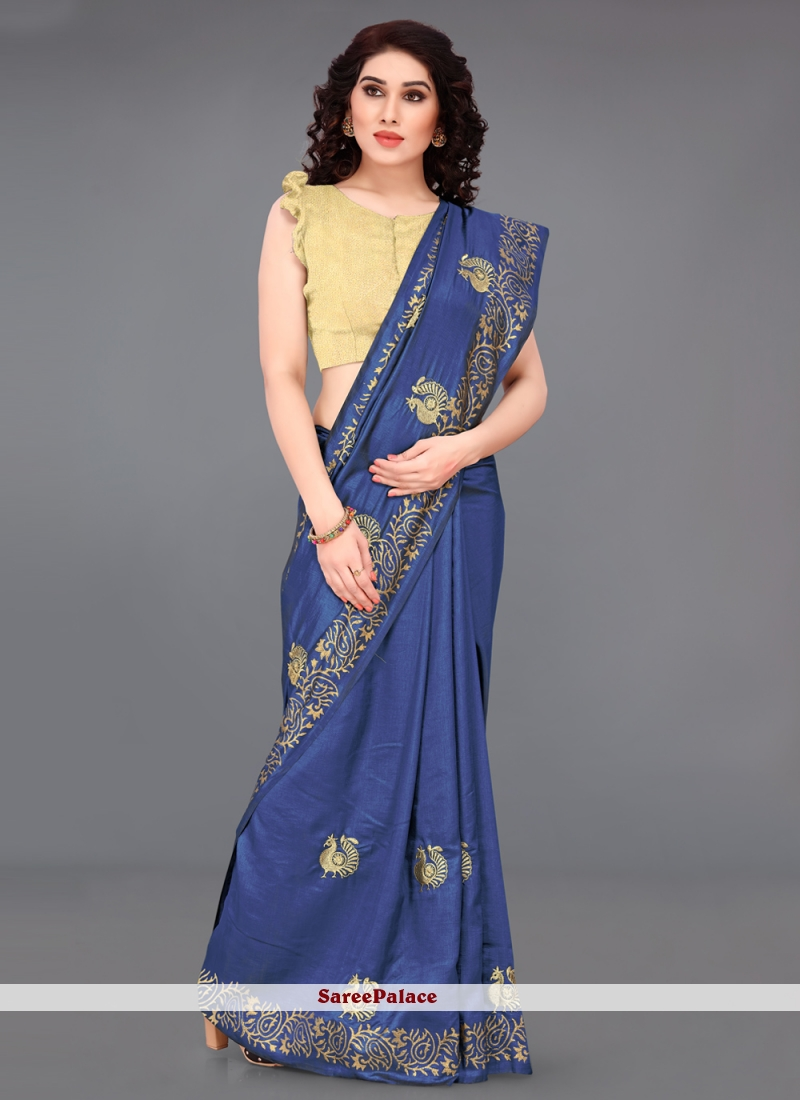 Blue Print Silk Casual Saree