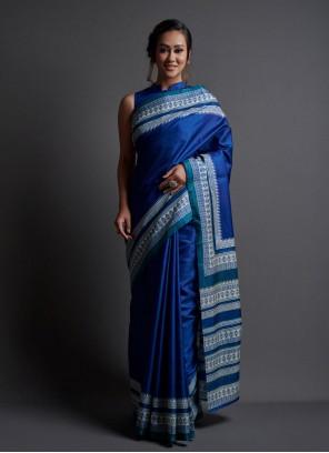 Blue Silk Festival Printed Saree