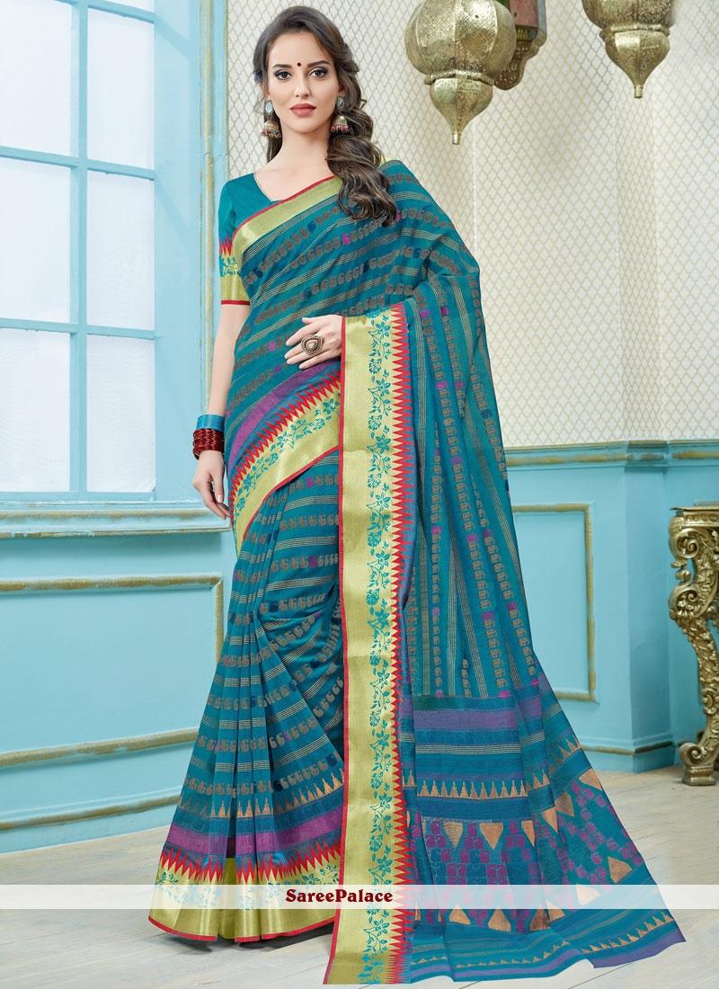 Blue Print Work Casual Saree