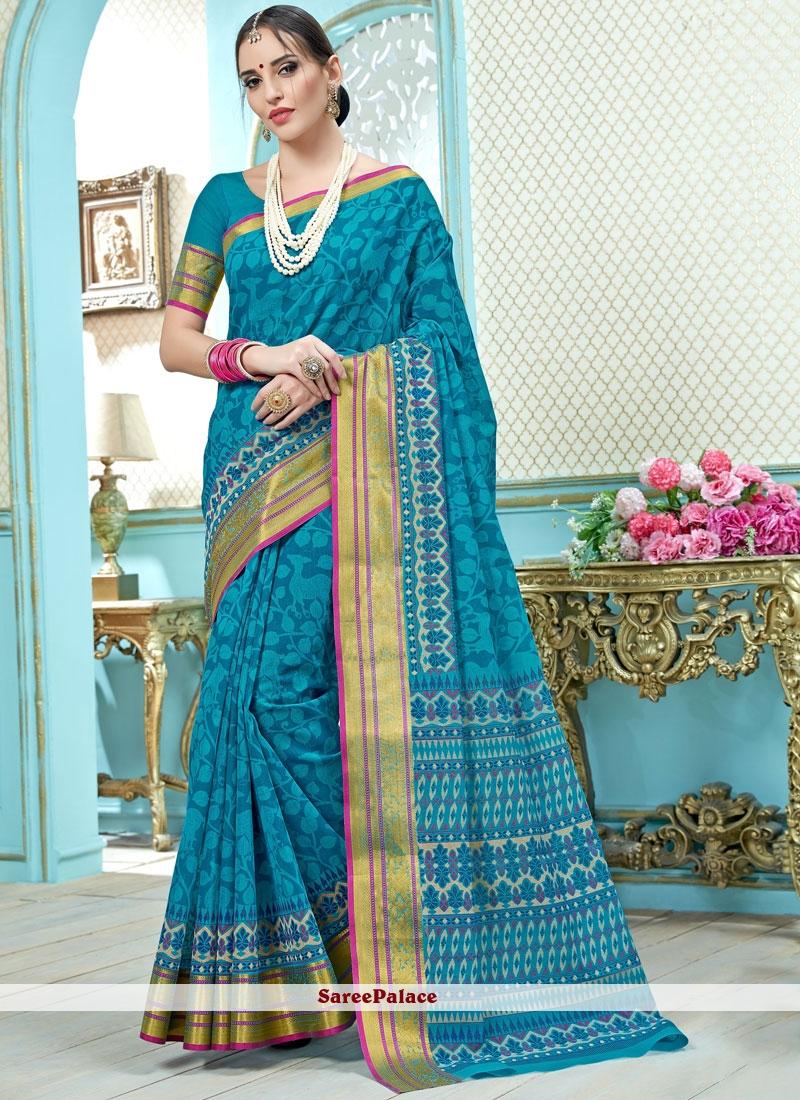 Blue Print Work Cotton   Casual Saree