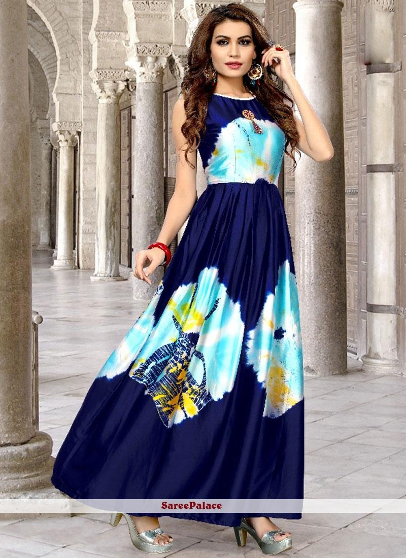5741ccf13c Buy Blue Print Work Satin Silk Party Wear Kurti Online