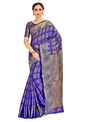 Blue Printed Art Silk Designer Traditional Saree