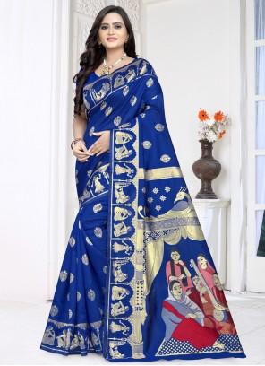 Blue Printed Bollywood Saree