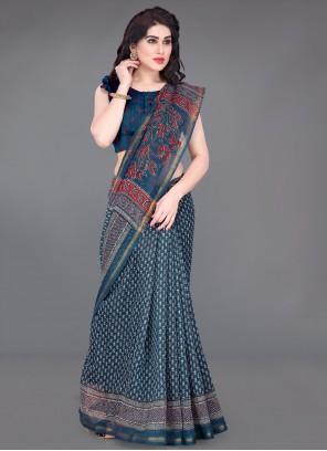 Blue Printed Casual Printed Saree