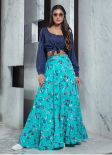 Blue Printed Ceremonial Bollywood Lehenga Choli