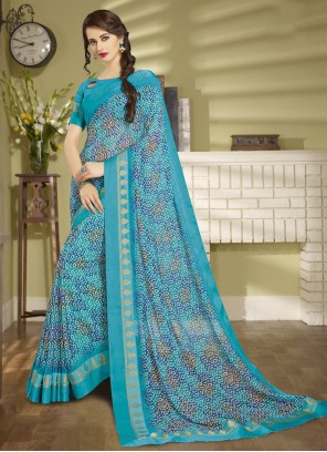 Blue Printed Ceremonial Saree
