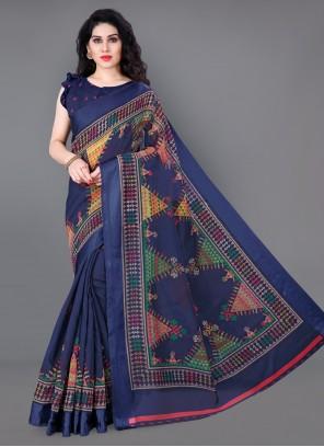 Blue Printed Classic Saree