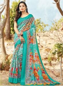 Blue Printed Cotton Casual Saree