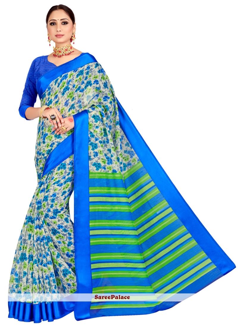 Blue Printed Cotton Silk Classic Saree
