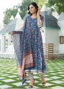 Blue Printed Cotton Trendy Anarkali Salwar Suit