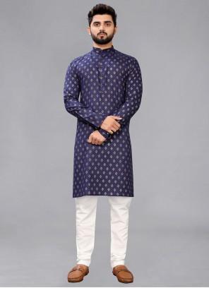 Blue Printed Engagement Kurta Pyjama