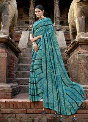 Blue Printed Faux Chiffon Bollywood Saree