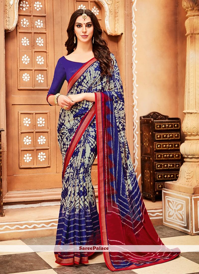 Blue Printed Faux Chiffon Trendy Saree
