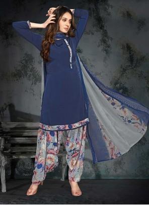 Blue Printed Faux Crepe Punjabi Suit